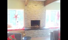 Stone veneer fireplace/hearth