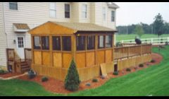 Freshen up your life this customer did .This Cedar enclosure with a whirlpool hot tub  inside was areal stress reliever.