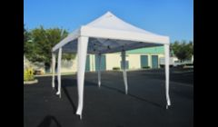 Pop Up Tent: 10' x 20' White Pop Up Tent - without wall panels - $99.00\n-Tent is water resistant, not waterproof, but can withstand nonstop, steady rain for up to two hours\n-10' wall panels (total of 4 panels) - $6.00 ea.