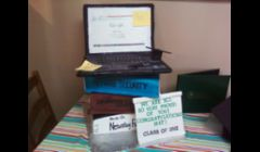 Book/Laptop Cake... 3 books, each a different flavor of cake. The laptop took a total of 20 hours to complete. The total cake took over 45 hours, weighed about 45lbs.