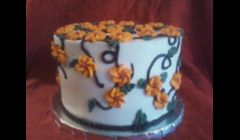 Cake from Wilton Cake Class # 2 Course-Final Cake for this class. Fun Cake!  Carrot Cake & vanilla-cream cheese icing... 3 layer 8