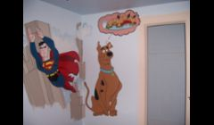 Part of chlds room; also painted sponge bob toons and a complete wall of city/country life.  Superman and scooby doo with giant sub sandwich
