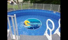 24 Round Sharkline Hybrid Pool with a Deck and Fence.