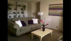 This is a living room redesign.  This room used to be done in a drab black color scheme. I redesigned it with a green, purple, and ivory color scheme that made it more lively and fun...