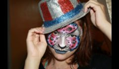 Holiday facepainting by Cynnamon: 4th of July Leopard www.facepaintingbycynnamon.com