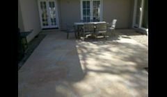 Flagstone patio after cleaning.