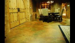 Interior decorative concrete overlay.  Cement-based, coated with clear epoxy and finished with clear satin polyurethane.