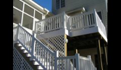 Vinyl railings to screen porch area.