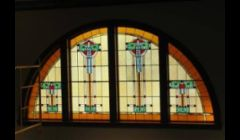 Prairie style stained glass at Colon Township Library, Colon, MI