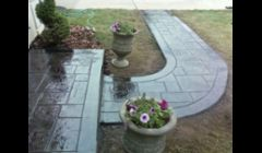 Concrete Stoop and created walk way Stamped, Colored, and Sealed - See before pic on website