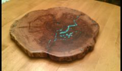 Mesquite and Turquoise Lazy Susan Turntable 1
