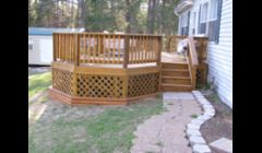 We build custom decks using hand picked treated lumber and deck screws paying close attention to every detail.