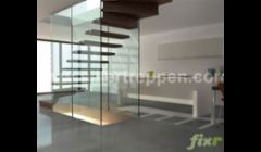 structural glass stair with two sides glass wall