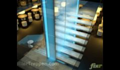 floating concrete design staircase with glass railing