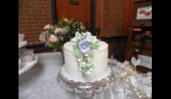 Lavender, Champagne and Roses Wedding Cake