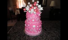 Sweet 16 Pink Bow, Stars & Balloons Birthday Cake
