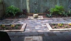 Paver patio, walkway, water feature, landscape design & install to small back yard.